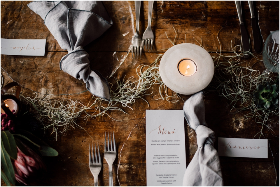 Rustic wedding same sex styled shoot - table setting