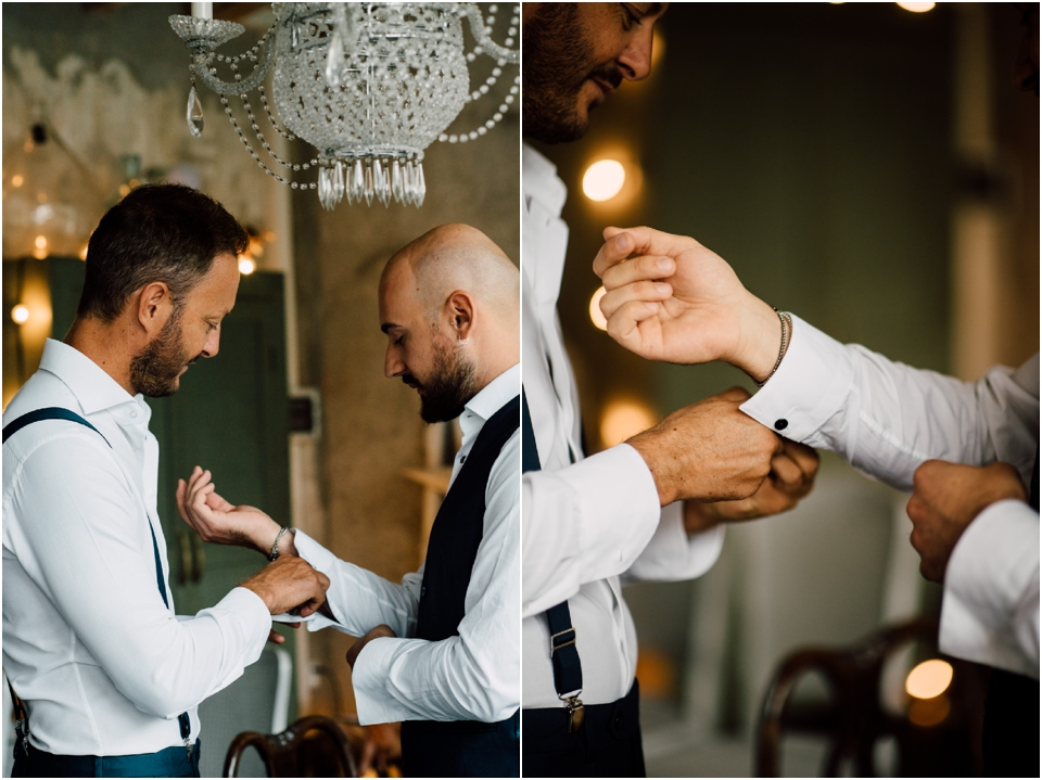 Rustic wedding same sex styled shoot - couple getting ready