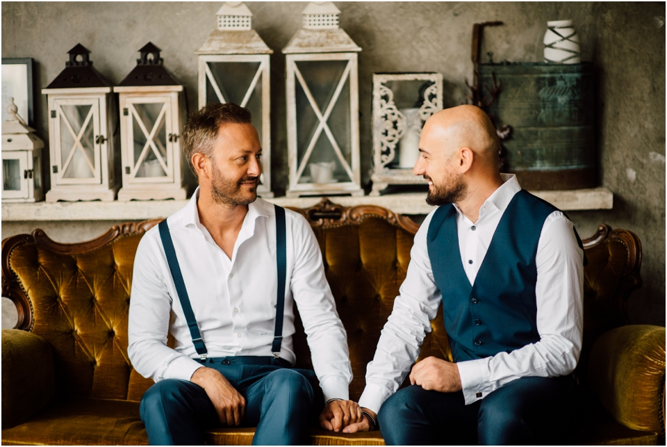 Rustic wedding same sex styled shoot - couple holding hands