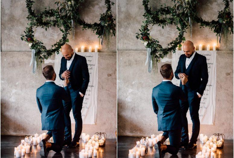 Rustic wedding same sex styled shoot - exchanging rings