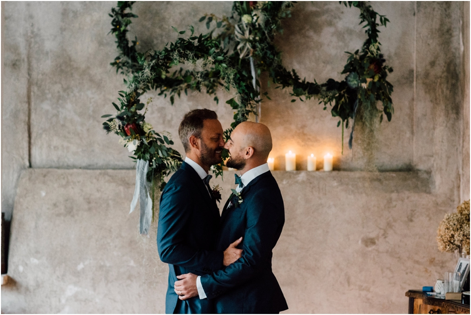 Rustic wedding same sex styled shoot - first kiss