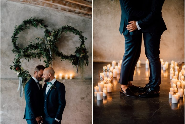 Rustic wedding same sex styled shoot - exchanging rings
