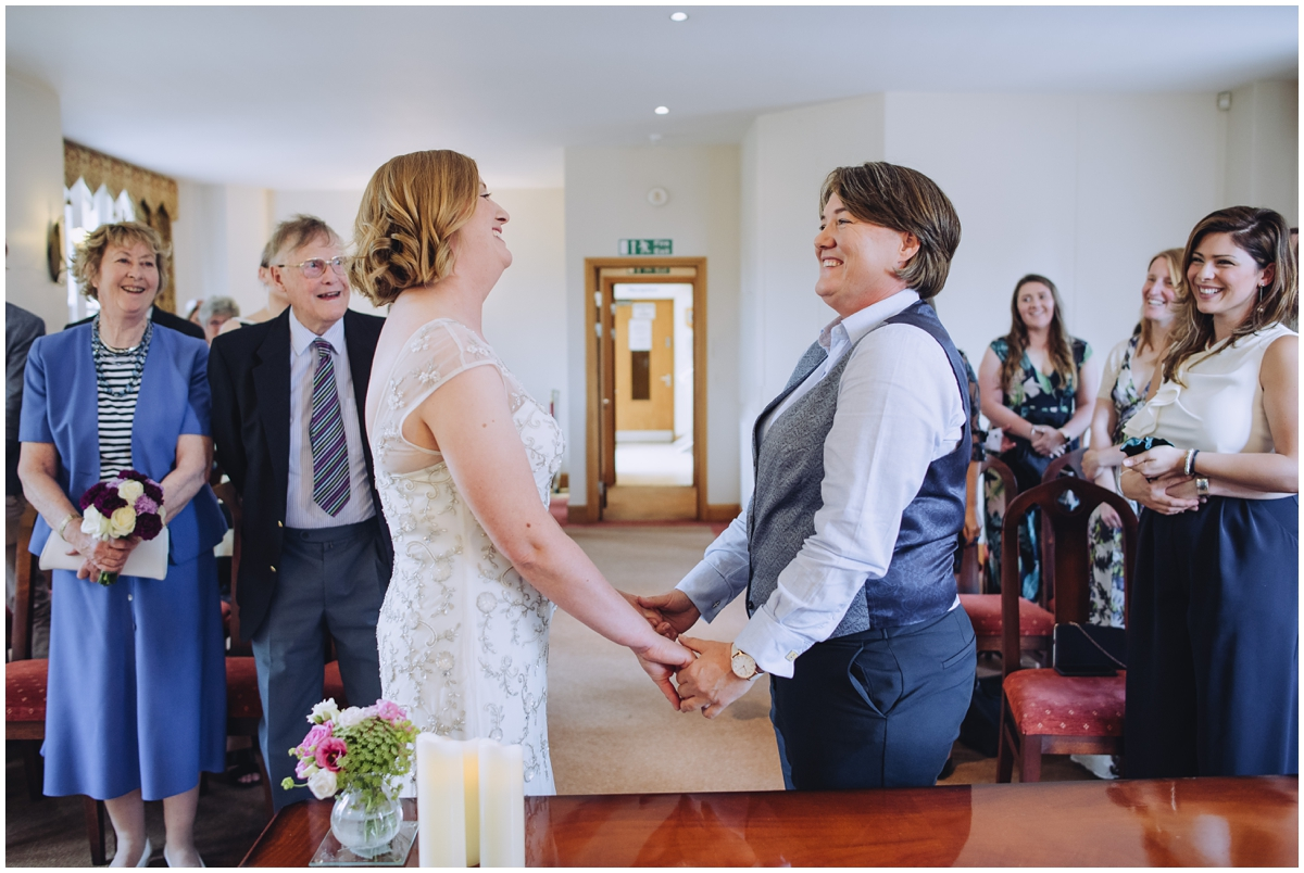 Image of a lesbian wedding ceremony taken by a wedding photographer Eames Photography