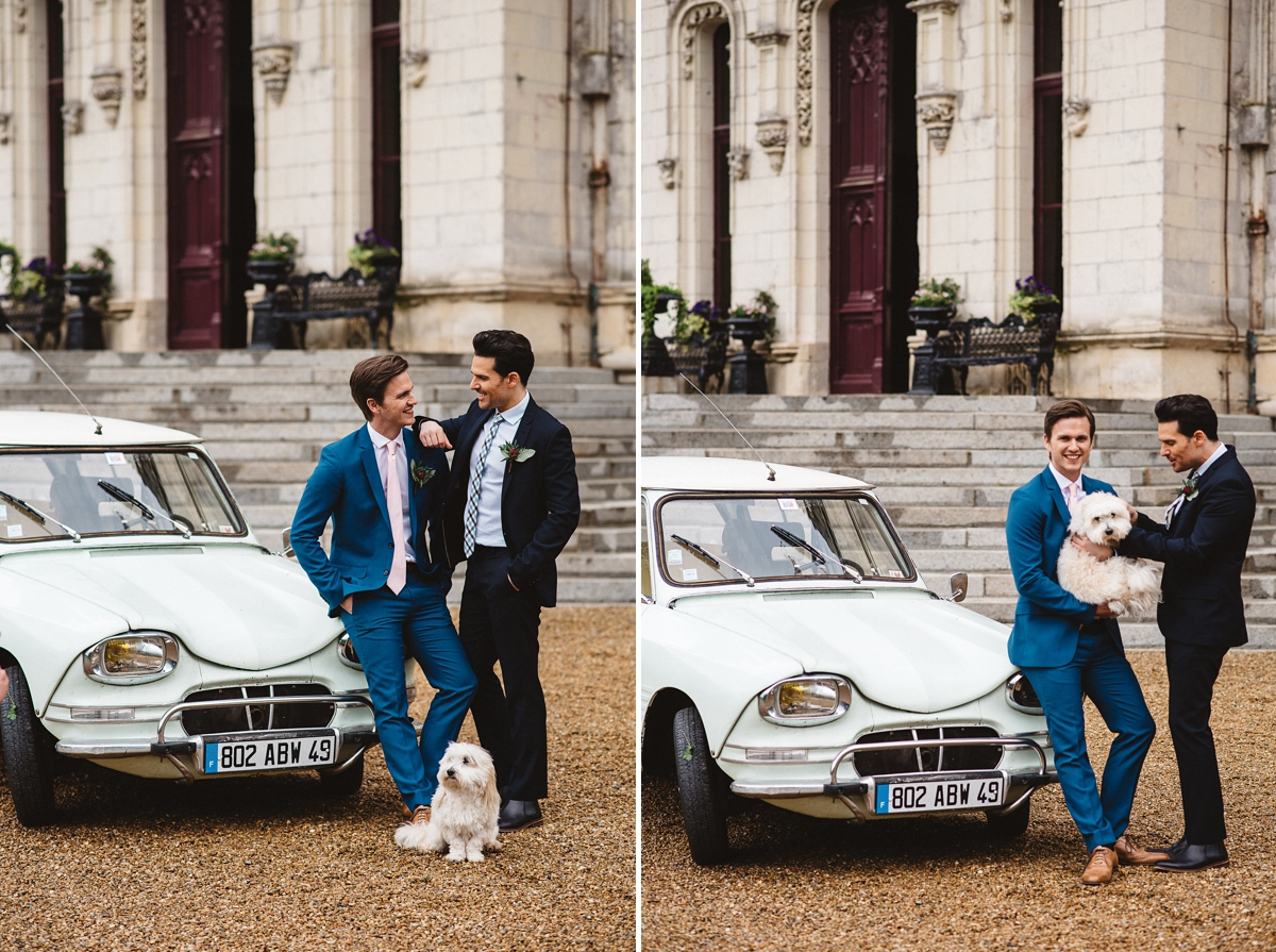 Picture of two grooms with a white vintage car -  - Gay Wedding Blog