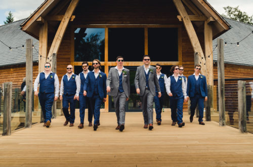 Gay wedding in Shropshire - grooms and their groomsmen