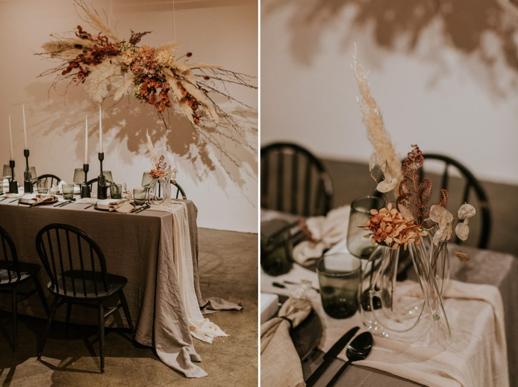 Wedding table set up with long candles and dried flowers - Wedding Trends analysis by The Stars Inside